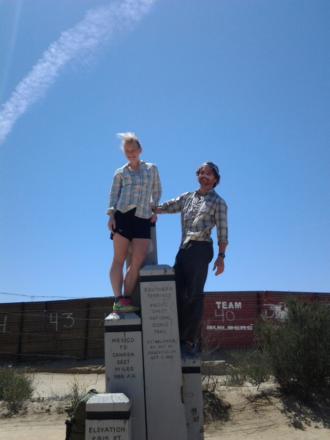 At the Southern Terminus in Campo, CA, with the Mexican border right behind us. Ready to go!!