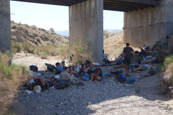 There was a long waterless stretch along the aqueduct where the only respite for miles was under this bridge. We stayed there for about 4 hours, eating and waiting for it to get cooler. With the right people, hanging out under a bridge can be the most fun thing ever!