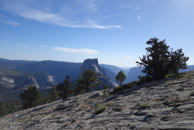 Top of Clouds Rest. There's Half Dome and Yosemite Valley in the distance.